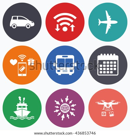 Wifi, mobile payments and drones icons. Transport icons. Car, Airplane, Public bus and Ship signs. Shipping delivery symbol. Air mail delivery sign. Calendar symbol. - stock photo