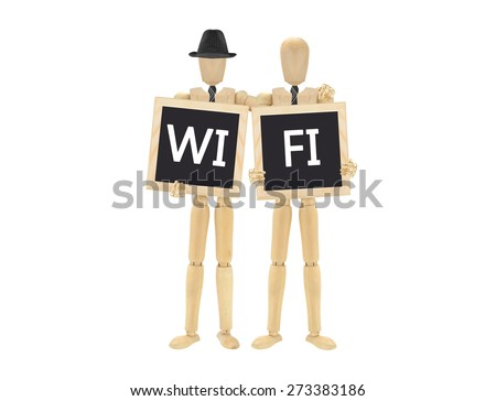 WiFi on Blackboard held by wood mannequins  arm in arm isolated on white background - stock photo