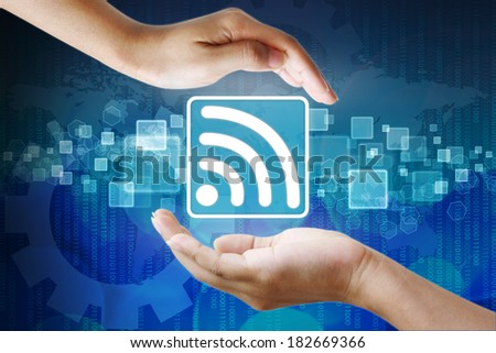 wifi symbol in hand business background - stock photo