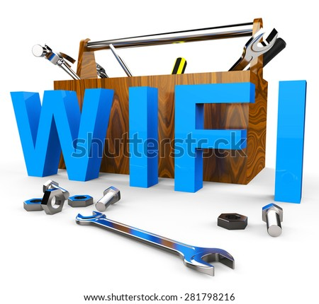Wifi Tools Indicating World Wide Web And Website - stock photo