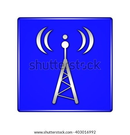 wifi tower button isolated