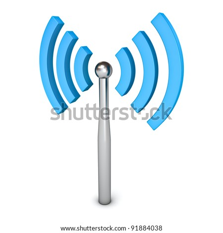 Wifi wireless symbol icon isolated on white background - stock photo