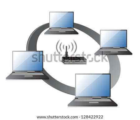 WIFI / WLAN Laptops connection Concept illustration design over a white background - stock photo