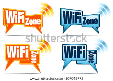 WiFi Zone - Speech bubbles with signal for WiFi Connection - Raster Version - stock photo