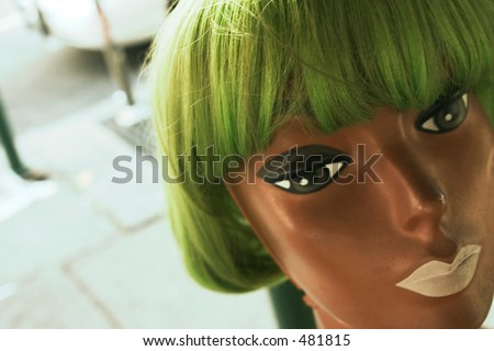 wigged mannequin - stock photo