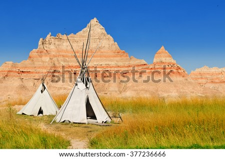 Wigwams at a scenic view in Badlands National Park, South Dakota, USA - stock photo