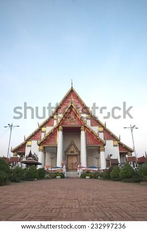 Wihan Mongkhon Bophit at Ayutthaya province of Thailand in natural morning light - stock photo