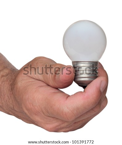 wihite light bulb in hand of man, isolated