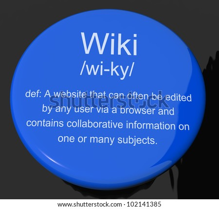 Amazing Wiki Definition Button Shows Online Collaborative Community Encyclopedia