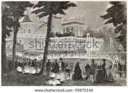 Wilanow palace nocturnal lighting, Warsaw (prince Jerome Napoleon and Alexander II of Russia meeting). Created by Ferat, published on L'Illustration, Journal Universel, Paris, 1858 - stock photo