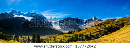 Wilcox Pass, and views of the Columbia Icefields, Jasper National Park, Alberta Canada - stock photo