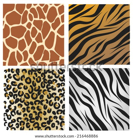Wild African animals pattern set  - stock photo
