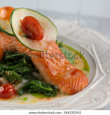 "Wild alaskan salmon ""a la plancha"" organic fingerling potato puree and broccoli - stock photo"