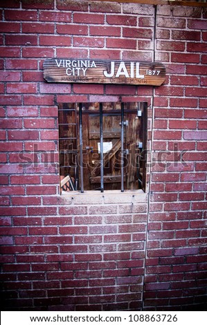 Wild american west old style jail window - stock photo