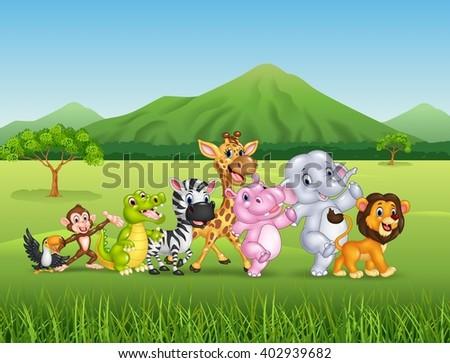 Wild animal cartoon - stock photo