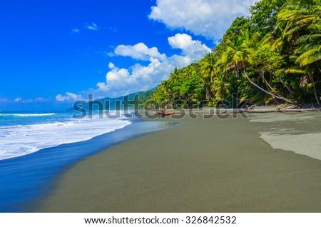 Wild beach at Corcovado Rainforest in Costa Rica - stock photo