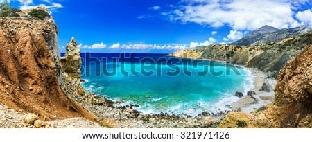 wild beautiful beaches of Greece - Akrotiri bay in Karpathos island - stock photo