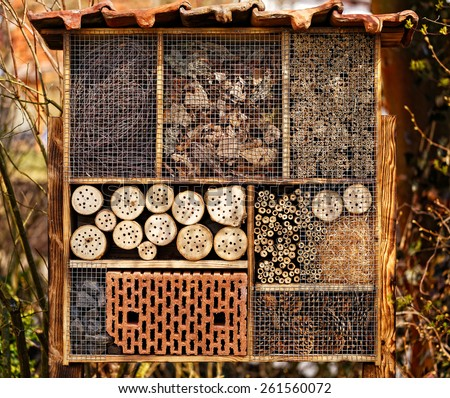 Wild Bee Hotel - Insect Hotel - stock photo