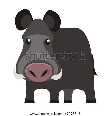 Wild boar - Woodland animal cartoon isolated on white background color raster illustration