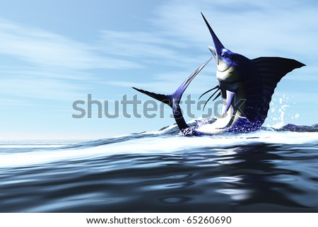 WILD CHILD - A Blue Marlin jumps through the ocean surface in a spray of water. - stock photo