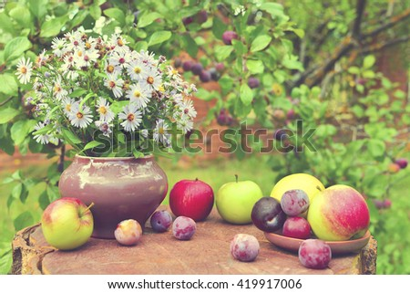 wild flowers and fruits
