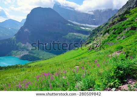 wild flowers and high alpine landscape of the Grinnell Glacier trail in Glacier national park, montana in summer - stock photo