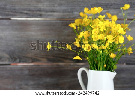 Wild flowers in a vase, bouquet - stock photo