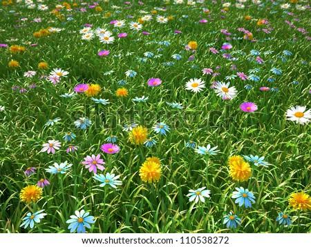 wild flowers on the meadow at spring time - 3d render - stock photo