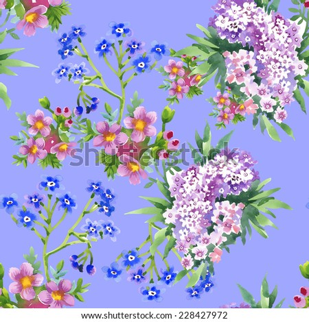 Wild flowers seamless pattern on blue background