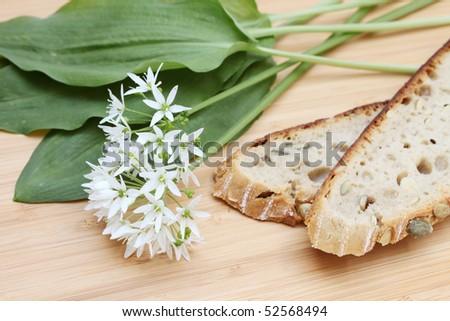 wild garlic with bread - stock photo