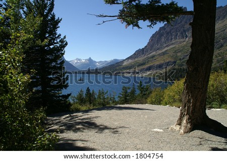 Wild Goose Island at Glacier National Park - stock photo