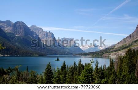 Wild Goose Island on St. Mary Lake - stock photo