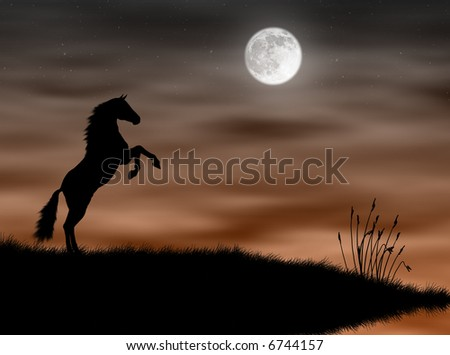 Wild horse silhouette in the moonlight landscape - stock photo