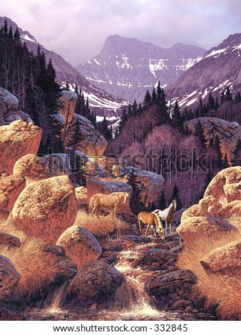 Wild Horses in Rocky Mountains / AF-002 - stock photo