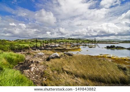 Wild lake landscape in Connemara - stock photo