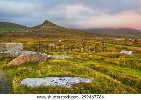 Wild meadows and hills on Dingle peninsula, Ireland - stock photo