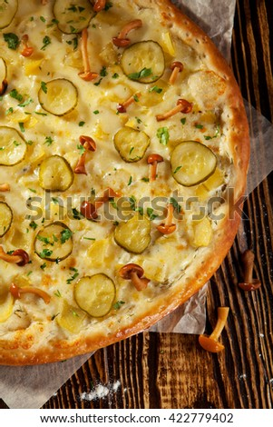 Wild Mushroom and Potato Pizza - stock photo
