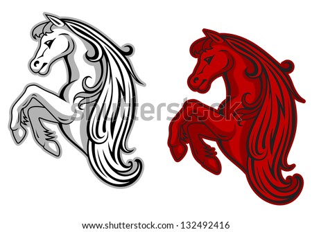 Wild mustang in white and red color for mascot design. Vector version also available in gallery - stock photo