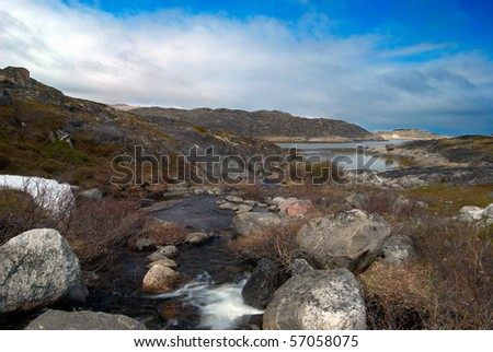 Wild northern nature. Landscape of the mountain river. - stock photo