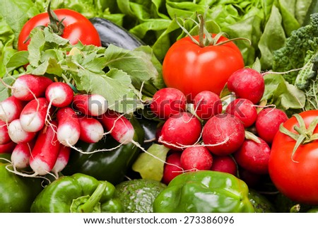 Wild raddish among other vegetables  Fresh fruits and vegetables background - stock photo
