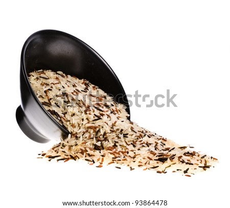 Wild rice with brown and white rice in black round bowl on white background - stock photo