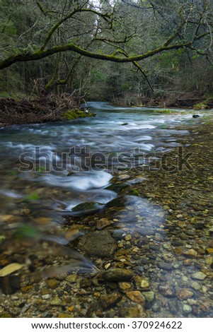 Wild river in the mountains - stock photo