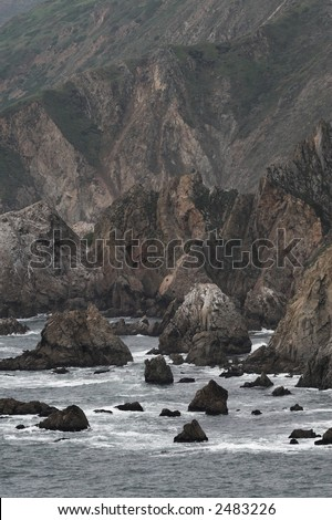 Wild rocky shoreline of Point Reyes California - stock photo