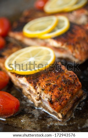 Wild Salmon Fillets on Skillet with Cherry Tomatoes  - stock photo