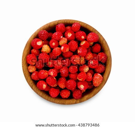Wild small strawberry in a wooden bowl. Top view. Ripe and tasty strawberry isolated on white background. - stock photo