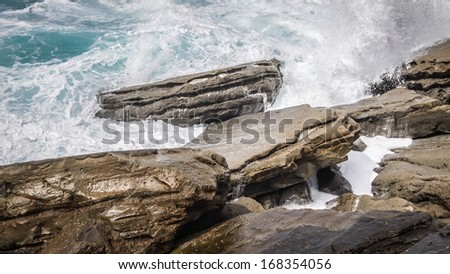 Wild waves on the rocks at the west coast of Spain in San Sebastian