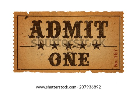 Wild West Admit One Movie Ticket Isolated on White Background. - stock photo