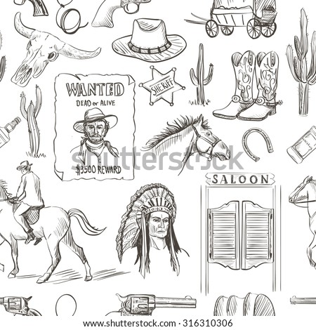 Wild West hand drawn seamless pattern with revolvers, skull, injun, cowboy, van, horse, cactus, hat, horseshoe, lasso, sheriff, shoes, star, horseman, saloon - stock photo