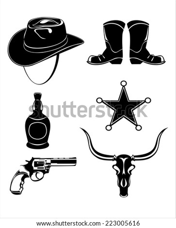 Wild west icons collection - stock photo