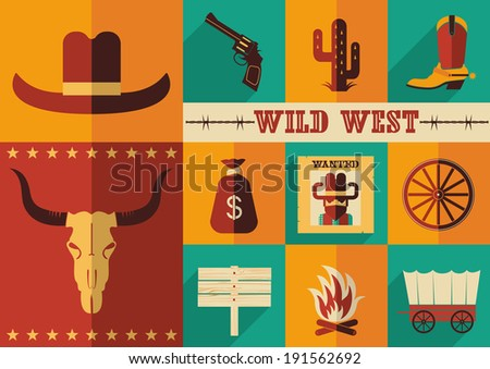 Wild west icons illustration of cowboy objects in flat design style.Raster - stock photo